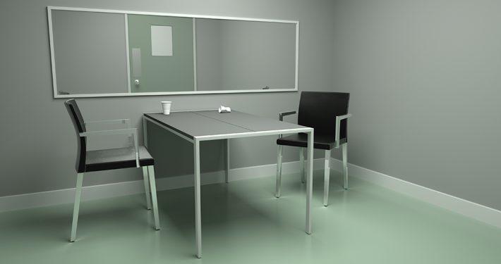 Glass med lav lysgjennomgang. Konfrontasjonsglass. Enveisspeil. Argusspeil. Foto: Shutterstock