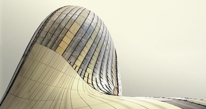 Foto av glassbygning fra Glasstec Düsseldorf